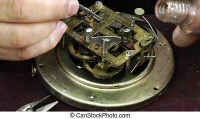 Old Technology Clock Mechanic Repair