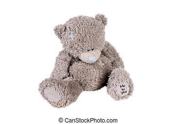 old teddy bear toy isolated over white