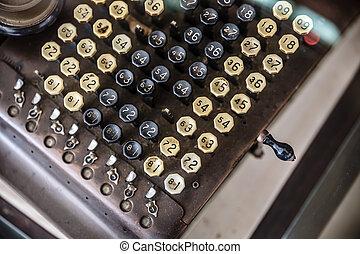 Old telegram, teleprinter, writer machine.