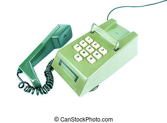 Old telephone on a white background