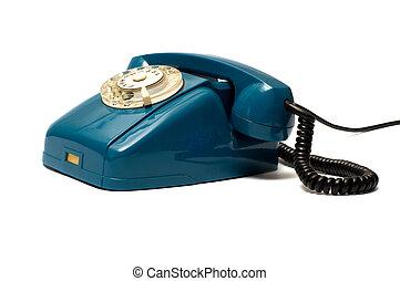 Old telephone. - Green vintage telephone on white background