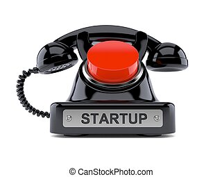 Old wireless push button telephone on white background  Top