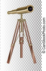 Old telescope on transparent Background. Concept of time.