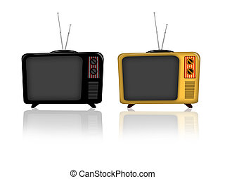 Old television - Illustration of an old television retro...