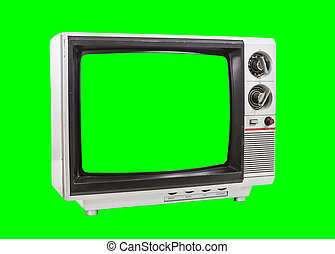 Old Television Isolated with Chroma Key Background