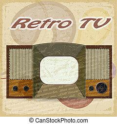 Old television on a vintage backgroundTV on a vintage background