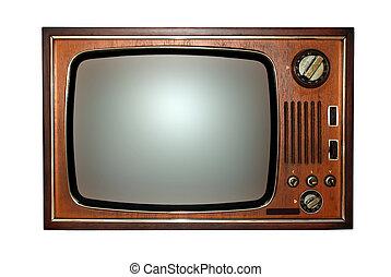 Old television, tv - Vintage: old wooden television, tv