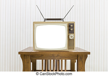 Old Television with Antenna on Wood Table with Cut Out Screen