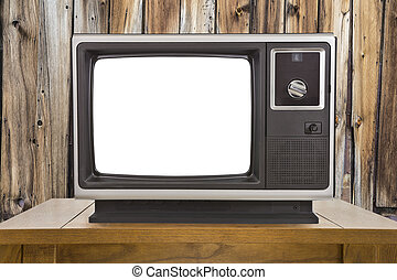 Old Television with Cut Out Screen and Rustic Wood Wall