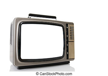 Old television with cut out screen isolate on a white.
