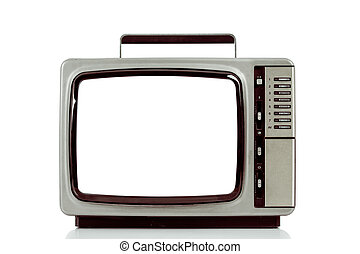 Old television with cut out screen isolated on white.