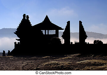 Old temple Bromo volcano in Indonesia