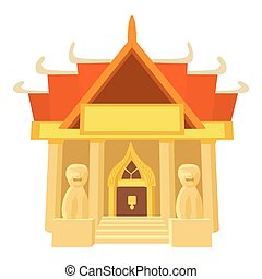 Old temple icon, cartoon style - Old temple icon. Cartoon...