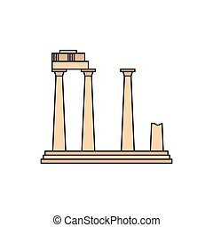 Old temple icon, cartoon style