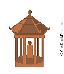 Old temple isolated vector icon