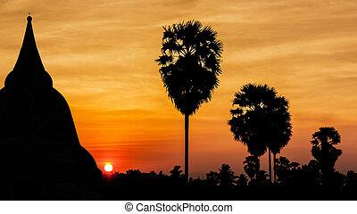 Old temple on twilight time