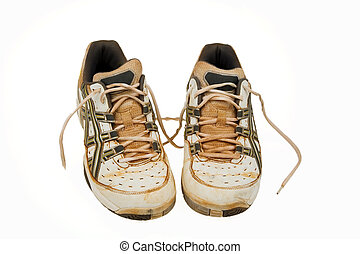 old tennis shoes - Old tennis shoes of a clay court. Used...