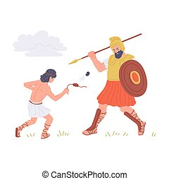 Old Testament bible David and Goliath, flat vector illustration isolated.