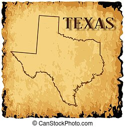 Old Texas Map - A parchment background with an outline map...