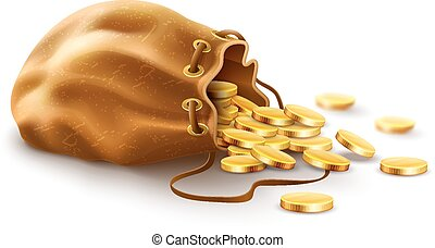 Old textile sack purse filled gold coins money spilled from open vintage with lace vector illustration. Isolated white background
