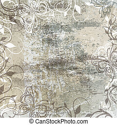 old texture - floral pattern on vintage texture background ...