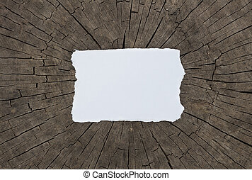 Old textured paper sheet on a dark wood table. Horizontal Mockup.
