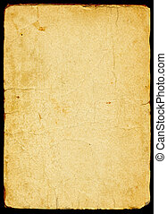 Old textured paper with tattered edge. On black