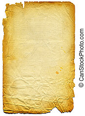 Old textured paper with tattered edge. On white. Very big...