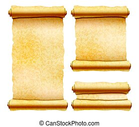Old textured papyrus scrolls different shapes isolated on white