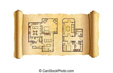 Old textured wide papyrus scroll with architect house plans on white