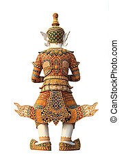 Old Thai giant sculpture on white background