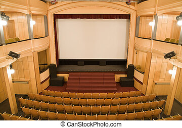 Old theater - Empty old theater auditorium with arc line of ...
