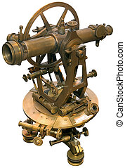 Old theodolite tacheometer cutout - Old brass theodolite ...