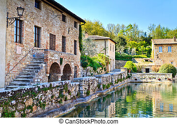 Old thermal baths in bagno vignoni, tuscany, italy. Bagno... stock ...