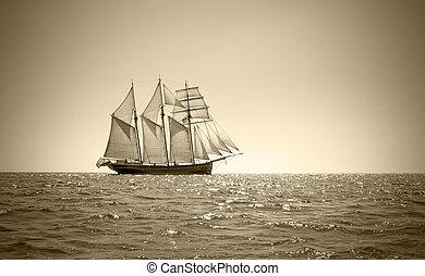 Old three mast schooner - Three mast schooner under sails on...