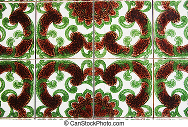 Old tiles detail abstract pattern, green and brown