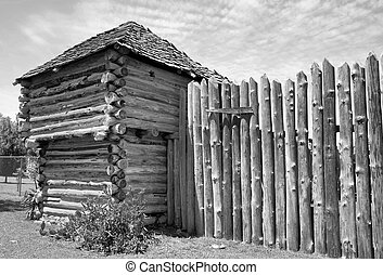 Old Timber Fort. - Old Wild West fort in black and white.