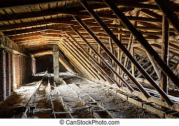 Old timbered loft - Old timbered dirty loft inside