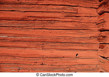 Old timbered wall in red color