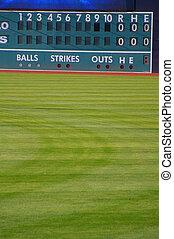 old time baseball scoreboard and field