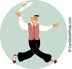 Old-time dancing performance - Cartoon man dressed in retro ...