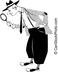 Old time detective - Cartoon man dressed in retro fashion...