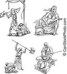 Old-Time Executioner Sketches. Set of black and white vector illustrations.