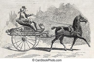Old time gig - Antique illustration of an Dutch old time...
