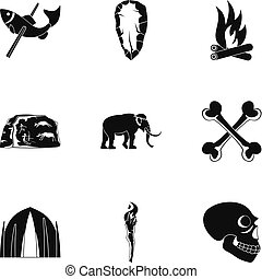 Old time icons set, simple style - Old time icons set....