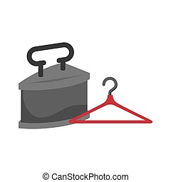 old time iron - retro metal iron with red hanger icon. ...