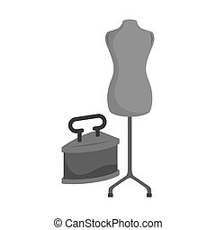 old time iron - retro metal iron with torso mannequin icon....