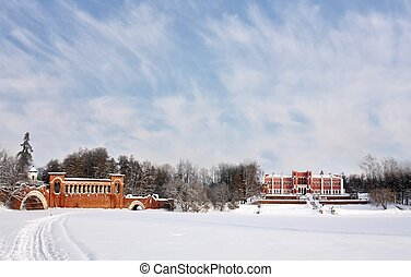 Old time manor in the winter morni