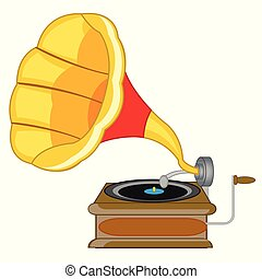 Old-time music instrument gramophone on white background