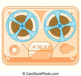 Old-time music player spool on white background